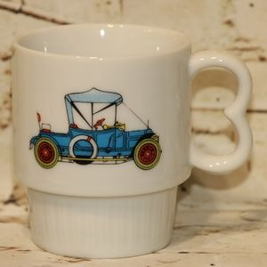 Vtg Antique Blue Car Coffee Mug Cup Made in Japan